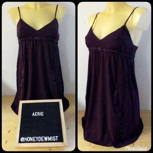 AERIE Plum Spaghetti Strap Mini Dress With Pockets